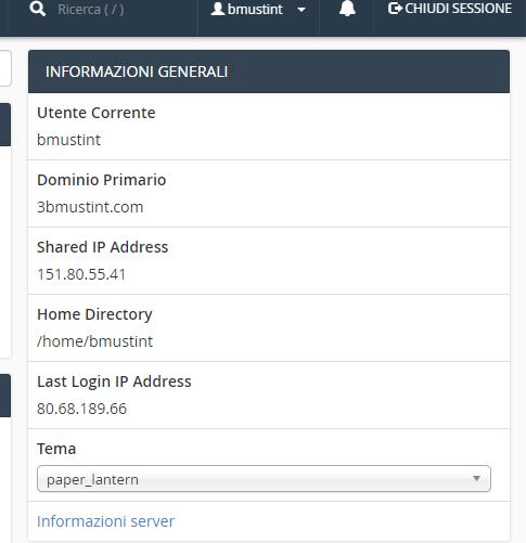 Ricavare IP e username da CPANEL